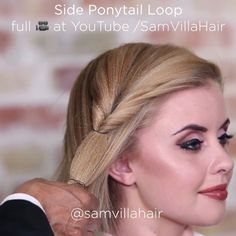 Side Ponytail Loop  The creativity is endless when it comes to ponytails.  Get the full tutorial at SamVilla.com/pro  #samvilla #samvillahair #tutorials #hair #stylist #hairtips #hairstylist #hairdresser #braid #ponytails