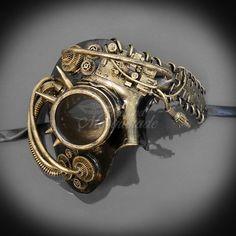 Men's Masquerade Mask, Steampunk, Steampunk Masquerade Mask, Gold Phantom Mask, Half Face Mens Masqu Steampunk Diy, Steampunk Mask, Steampunk Design, Steampunk Clothing, Steampunk Costume, Steampunk Fashion, Steampunk Drawing, Cyborg Costume, Mens Masquerade Outfit