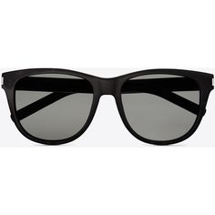Saint Laurent Classic 3 Sunglasses In Black Acetate With Brown Lenses (2 705 SEK) ❤ liked on Polyvore featuring accessories, eyewear, sunglasses, glasses, black, acetate glasses, yves saint laurent eyewear, lens glasses, engraved glasses and yves saint laurent