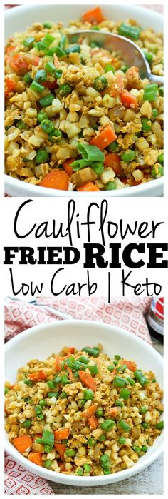 LOW CARB and KETO -> Cauliflower Fried Rice Recipe! My rating is, it& easy and going - Blumenkohl Gebratener Reis Rezept! Rice Recipes, Side Dish Recipes, Healthy Recipes, Keto Recipes, Cookie Recipes, Chicken Recipes, Delicious Recipes, Easy Recipes, Clean Dinner Recipes