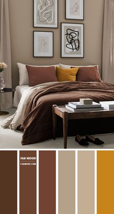 Color Inspiration : Ombre Teal and Peach – Color Palette #32 1 - Fab Mood | Wedding Colours, Wedding Themes, Wedding colour palettes Brown Bedroom Walls, Brown Bedroom Colors, Taupe Bedroom, Earthy Bedroom, Bedroom Colour Palette, Bedroom Wall Colors, Bedroom Color Schemes, Room Ideas Bedroom, Home Decor Bedroom