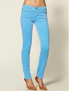Ag Stilt jean in highlighter blue | Piperlime  Perfect for work and then wearing on the plane to Ohio
