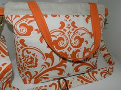 Camera Bag SLR, Carrot Damask Print, 9 x 15 Camera Bag  Dslr, womens camera purse, diaper bag,  Removable Padded  Insert, by Darby Mack.