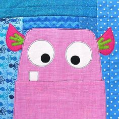Projects From Cute Quilt-As-You-Go Appliqué Monsters Applique Patterns, Applique Quilts, Quilt Patterns, Fabric Crafts, Sewing Crafts, Sewing Projects, Cute Quilts, Baby Quilts, Sewing Patterns Free Home