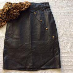 "Spotted while shopping on Poshmark: ""Vintage 80's NWOT Leather Skirt""! #poshmark #fashion #shopping #style #Vintage Firenze Santa Barbara #Dresses & Skirts"