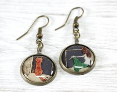 Girl with Fox Earrings Orange Blue Green Romantic by CutTheFish, $22.50