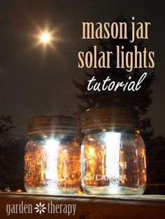 A quick and easy DIY for entertaining outdoors or lighting up a pathway: Mason Jar Solar Lights. You can do this project for just a dollar or two each! Full instructions in the post. #masonjarcrafts #Solarlights #DIY #garden