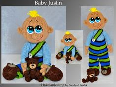 Häkelanleitung, DIY - Baby Justin (43 cm) - Ebook, PDF