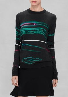 Fine knitted wool sweater embellished with a vivid aurora print that turns this basic-cut piece into an outfit-maker.