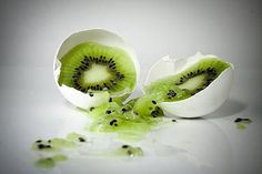 Likely two photos- the egg shell and the kiwi. The splattered effect of the kiwi is interesting and well done- it looks completely natural. Creative Photos, Creative Food, Conceptual Art, Surreal Art, Kiwi, Creative Photography, Food Photography, Photography Tricks, Photography Projects