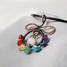 Chakra pendant copper jewelry crystal necklaces rainbow