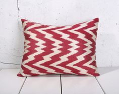 15 x 18 Decorative Pillow Ikat Pillow Cover Throw Pillow Accent Pillow Silk Pillow Red Cushion - 03744-62