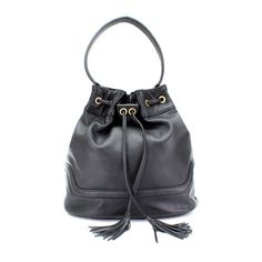 Made from a supple, butter-soft lightly grained leather, this elegant bucket bag is perfect as an everyday bag. The shoulder strap fits easily over the shoulder and the bag is finished with antique brass hardware which compliments the black beautifully.  Features one main compartment inside floral lining zipped internal pocket slip pocket for mobile phone magnetic snap closure drawstring side closure  Measures W 15 x H 13.5 x D 6 inches. Handle length 21 inches. Drop 9 inches W 38 x H 35 x D…