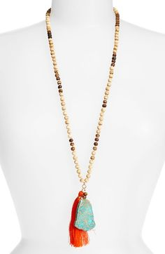 Panacea+Beaded+Stone+Tassel+Necklace+available+at+#Nordstrom