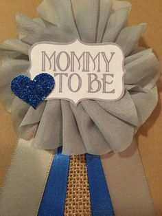 Gray Royal Blue Burlap Baby Boy Shower Mommy-to-be by afalasca