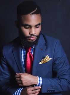 Blue (Azure) Blazer, Red Tie, Yellow Pocket Square, Blue and White checked shirt. [Shot by Cyril Zuma] Kurt Geiger, Blue And White, Yellow, Check Shirt, Pocket Square, Gq, The Man, Nice Dresses, Muse