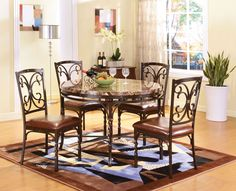 Burril Round Dining Table with Faux Marble Top | Acme Furniture | Home Gallery Stores