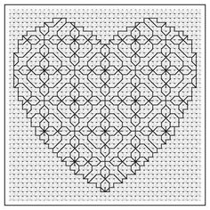 Primrose Heart Blackwork Chart by - Craftsy Looking for your next project? You're going to love Primrose Heart Blackwork Chart by designer Motifs Blackwork, Blackwork Cross Stitch, Blackwork Embroidery, Cross Stitching, Embroidery Hearts, Hand Embroidery Stitches, Cross Stitch Embroidery, Embroidery Patterns, Cross Stitch Designs