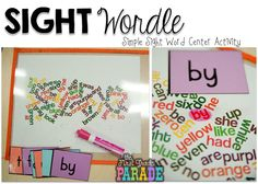Sight Wordle - create a wordle online, print and laminate. Using a highlighter and flashcards children can search for the flashcards words hidden in the wordle. Students loved the activity and it can be easily cleaned and used again!