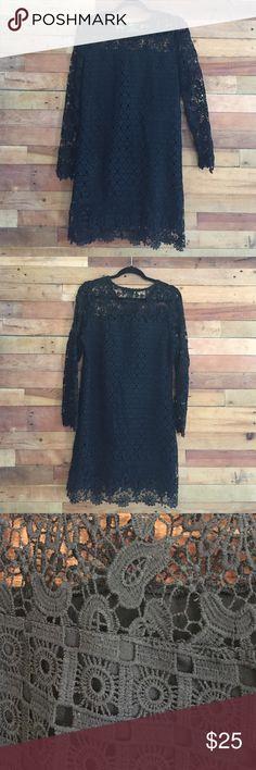 Eyelet black dress 100% polyester Dresses
