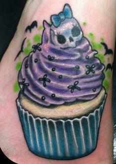 Evil Cupcake Tattoo by BittersweetLuna on DeviantArt Cupcake Tattoo Designs, Cupcake Tattoos, Arm Sleeve Tattoos, Arm Tattoo, Tattoo Art, Pretty Tattoos, Beautiful Tattoos, Awesome Tattoos, Tattoos For Kids