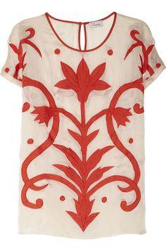 Temperley London|Francine appliquéd silk and cotton-blend top