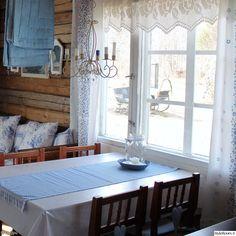 tupa,tupakeittiö,mökki,pitsiverho,sinivalkoinen,sininen,valkoinen,vaaleansininen,kynttilä,lasipurkki,kynttelikkö,keittiö,hirsiseinä,hirsiseinät,maalaisromanttinen,keittiön verhot,tekstiilit,kesäasunto,kakkosasunto