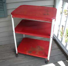 Superb RESERVED For Jschmitt80   Vintage Cosco Red U0026 White Metal Utility Kitchen  Cart