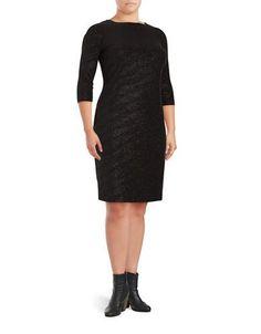 Calvin Klein Plus Plus Shimmer Sheath Dress Women's Black 14W