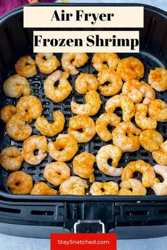 This contains: frozen shrimp in air fryer Air Fry Recipes, Air Fryer Dinner Recipes, Easy Weeknight Dinners, Quick Easy Meals, Shrimp Recipes, Appetizer Recipes, Frozen Chicken Wings, Meal Prep Guide, Frozen Shrimp