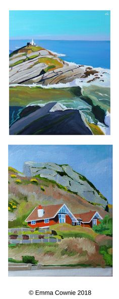 Two Gower coast paintings by Swansea artist Emma Cownie. Towards Mumbles lighthouse & house at Horton seafront.