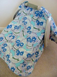 Infant Carrier  Car Seat Canopy in Indigo Paisley by Rockin Mama Baby Gear, $30.00