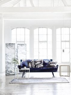 Terence Woodgate Carrara pendant hung next to an ercol Originals Studio Couch - what a pair! Calcutta Marble, Marble Top Side Table, Sofa Colors, Colours, Blue Couches, Living Room Lounge, Rug Company, Interior Decorating, Interior Design