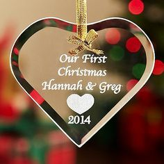 Personalized Glass Heart Ornament - Personal Creations Gifts on sale. Find great prices on additional Christmas & Holiday Ornaments at Bizrate. Trending Christmas Gifts, Christmas Gift For Dad, Personalized Christmas Ornaments, First Christmas, Holiday Ornaments, Glass Ornaments, Christmas Ideas, Christmas Tree, Xmas