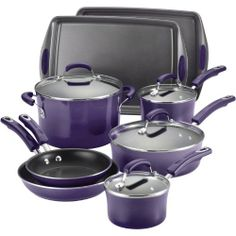 Rachael Ray Porcelain Enamel II Nonstick 12-Piece Cookware Set, Purple Gradient Rachael Ray,http://www.amazon.com/dp/B00EFTS0C2/ref=cm_sw_r_pi_dp_hdhntb1F723AWQTV