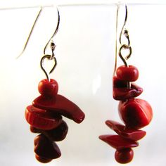 Unique Drop Earrings Sterling Silver Hooks Red Coral Chips Nuggets Free Shipping #BullockDorchesterCollection #DropDangle