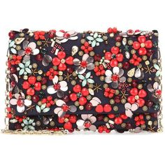 Oscar de la Renta DeDe Embellished Clutch ($1,690) ❤ liked on Polyvore featuring bags, handbags, clutches, multicoloured, navy handbags, embellished handbags, oscar de la renta, navy blue handbags and embellished purses