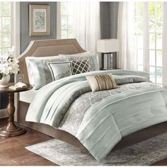 Madison Park Bryant Cal King Size Bed Comforter Set Bed in A Bag - Aqua, Jacquard Paisley Demask – 7 Pieces Bedding Sets – Faux Silk Bedroom Comforters Blue Comforter Sets, Bedding Sets, Taupe Comforter, Blue Bedding, Elegant Comforter Sets, Bed Styling, Bed Spreads, Comforters, Bedroom Decor
