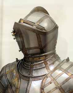 A Greenwich armour, made for Sir James Scudamore, with a characteristic high vizor.