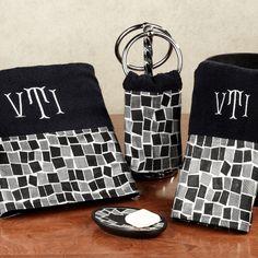 Black decorative bathroom towels