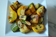 Zucchini and Summer Squash with Chili, Mint and Toasted Almonds.  #food52 #saveur #summerfoodfights