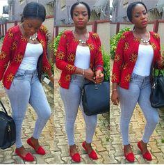 Red ankara blazer ~Latest African Fashion, African women dresses, African Prints, African clothing jackets, skirts, short dresses, African men's fashion, children's fashion, African bags, African shoes ~DK