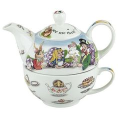 Alice in Wonderland tea for one stacking teaset (teapot and cup) decorated with Mad Hatter's Tea Party and other motifs from the book, ceramic
