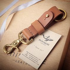 Leather Key Fob BRASS belt loop Key Landyard // Personalize name //Keychain solid brass swivel snap // Tan
