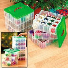 We love the design of these containers for storing ornaments!  They stack perfectly and take advantage of all that vertical space!!!
