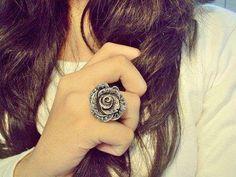 :* L - beautiful antiqued silver rose ring studded with diamonds. Gold Jewelry, Jewelry Box, Jewelery, Jewelry Accessories, Fancy Jewellery, Black Jewelry, Vintage Jewellery, Photo Jewelry, Statement Jewelry
