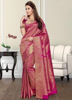 Pink Kanjivaram Saree with Blouse