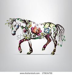 Horse silhouette of floral ornament                                                                                                                                                                                 More