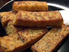 One Green Planet~ Chickpea Fries- INGREDIENTS: 2 cups water, 1 cup chickpea flour, 2 Tbs. safflower oil, divided, 1 tsp. Kosher salt, ½ tsp. black pepper, ½ tsp. garlic powder, ½ tsp. paprika, ½ tsp. oregano, 1/4 tsp. cayenne pepper, Oil or cooking spray for pan.
