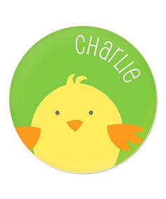Loving this Green Chick Personalized 8'' Plate on #zulily! #zulilyfinds
